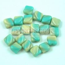 Silky gyöngy - Opaque Light Turquoise Beige Blend - 6x6mm