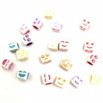 Smiley gyöngy mix - műanyag fűzhető kocka - 6mm