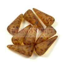 Cseh préselt tüske gyöngy - matt kristály barna márvány -7x17mm