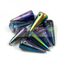 Cseh préselt tüske gyöngy - pink kék magic -7x17mm