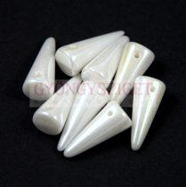 Cseh préselt tüske gyöngy -fehér gyöngy lüszter -7x17mm