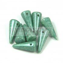 Cseh préselt tüske gyöngy -fehér mohazöld márvány -7x17mm