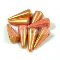 Cseh préselt tüske gyöngy - telt rózsa- bronz lüszter -7x17mm
