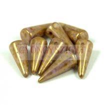 Cseh préselt tüske gyöngy - barna lila bronz lüszter -7x17mm