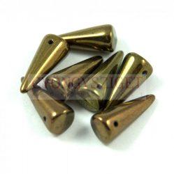 Cseh préselt tüske gyöngy - sötét oliva metál -7x17mm