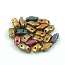 StormDuo - cseh préselt kétlyukú gyöngy – Ancient Gold - 3x7mm