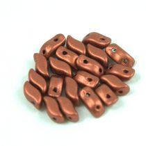 StormDuo - cseh préselt kétlyukú gyöngy - Matt Metallic Copper - 3x7mm