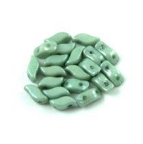 StormDuo - cseh préselt kétlyukú gyöngy - White Green Luster - 3x7mm