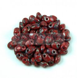 SuperUno gyöngy - 2.5x5mm - Opaque Piros Picasso