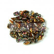 Super8® cseh kétlyukú gyöngy - 2.2x4.7mm - Crystal Magic Copper