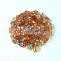 Super8® cseh kétlyukú gyöngy - 2.2x4.7mm - Crystal Orange Rainbow