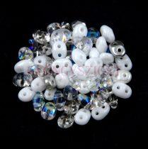 Czech Superduo bead mix - White Crystal - 10g