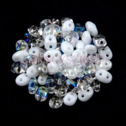 Cseh Superduo gyöngy mix - White - Crystal - 10g