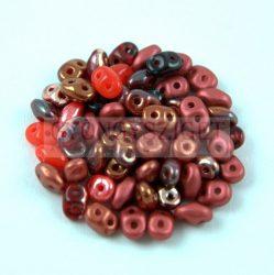 Cseh Superduo gyöngy mix - Red - 10g