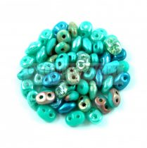 Cseh Superduo gyöngy mix - Turquoise Green - 10g