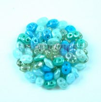 Czech Superduo bead mix - Turquoise Blue - 10g