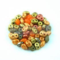 Cseh Superduo gyöngy mix - Orange - 10g