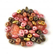 Cseh Superduo gyöngy mix - Pink Bronze - 10g