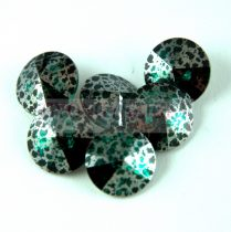 Swarovski rivoli 12mm - Emerald Silver Patina