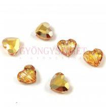 Swarovski - hosszában fúrt fűzhető szív  - Crystal Metallic Sunshine