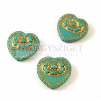 Cseh üveg gyöngy - hosszában fúrt szív alakú - Turquoise Green Gold - 17mm