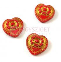 Cseh üveg gyöngy - hosszában fúrt szív alakú - Opaque Red Gold - 17mm