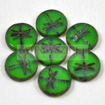 Cseh table cut gyöngy - hosszában fúrt kerek szitakötő mintás - transparens oliva picasso- 17 mm