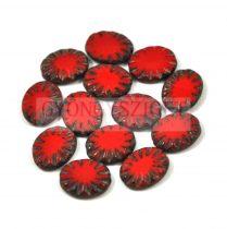 Cseh table cut gyöngy - hosszában fúrt ovális - sugár - piros picasso- 14x10mm