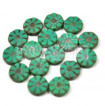 Cseh table cut gyöngy - hosszában fúrt virág - türkiz zöld picasso - 12mm