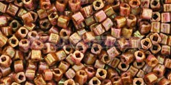 Toho Cube Japanese Glass Bead  -  y184  -  Hybrid Opaque rózsGold Lustered Topas  -  1.5mm
