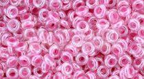 Toho demi round gyöngy - 1082 - Baby Pink Lined Crystal - 8/0