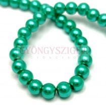 Tekla golyó gyöngy - Turquoise Met Green - 6mm (szálon - kb. 145db/szál)