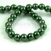 Tekla golyó gyöngy - Metallic Dark Green - 6mm (szálon - kb. 70db/szál)