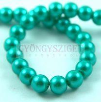 Tekla golyó gyöngy - Metallic Green Turquoise - 8mm (szálon - kb. 55db/szál)