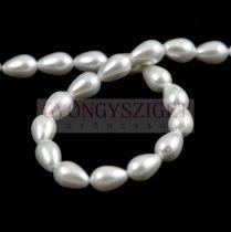 Tekla csepp gyöngy - White Pearl - 7x5mm (szálon - kb. 55db/szál)