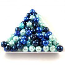 Tekla golyó gyöngy mix - Blue - 6mm
