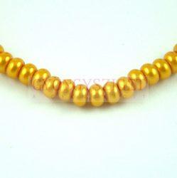 Tekla golyó gyöngy - Rondelle - Cream Yellow Gold - 3.5x5mm (szálon - kb. 120db/szál)