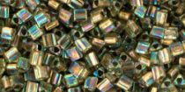Toho háromszög gyöngy - 998 - Gold Lined Rainbow Light Jonquil - 11/0