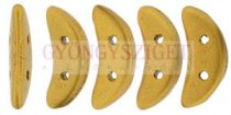 Crescent gyöngy - Kétlyukú félhold - Matte - Metallic Antique Gold - 10mm