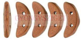Crescent gyöngy - Kétlyukú félhold - Matte - Metallic Antique Copper - 10mm
