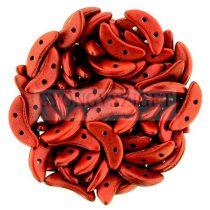 CzechMates 2 Hole Crescent Czech Glass Bead - opaque matte dark lava red - 10mm