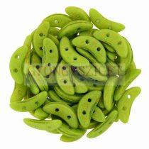 CzechMates 2 Hole Crescent Czech Glass Bead - pacifica avocado - 10mm