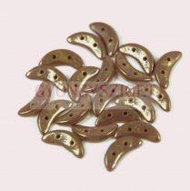 CzechMates 2 Hole Crescent Czech Glass Bead - Gold Lustered Purple - 10mm