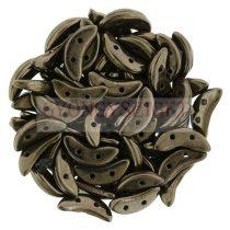 Crescent gyöngy - Kétlyukú félhold - Dark Bronze - 10mm
