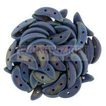CzechMates 2 Hole Crescent Czech Glass Bead - matte iris blue - 10mm
