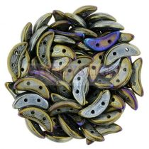 Crescent gyöngy - Kétlyukú félhold - Iris Bronze - 10mm