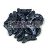 CzechMates 2 Hole Crescent Czech Glass Bead - matte metallic blue night - 10mm