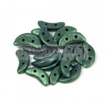 CzechMates 2 Hole Crescent Czech Glass Bead - matte metallic green - 10mm