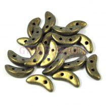 CzechMates 2 Hole Crescent Czech Glass Bead - matte metallic clay - 10mm