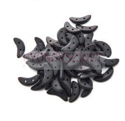 Crescent gyöngy - Kétlyukú félhold - Opaque Matte Black - 10mm